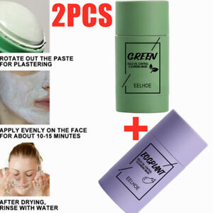 2x Green Tea Purifying Clay Stick Mask Oil Control Anti-Acne-Eggplant Fine Solid