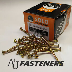 100 x TIMCO SOLO WOOD CHIPBOARD SCREWS - CHIPPY ZINC YELLOW COUNTERSUNK