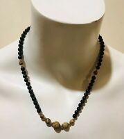 """Vintage 14k Gold, Black & Brown Beads Necklace 18.5"""""""