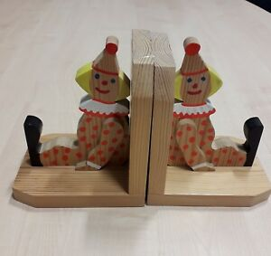 Clown Bookends Hand Carved Solid wood Bookends NEW