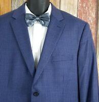 Jos A. Bank Men's Tailored Fit Wool Blue Check Sport Coat Jacket 46 Regular