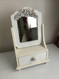 SMALL DRESSING TABLE / TABLE TOP WITH MIRROR AND DRAW / DISTRESSED WHITE FINISH