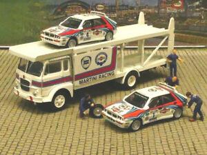 1/87 Brekina Fiat 643 Renntransporter-Set Lancia Martini Racing 2 x Lancia Delta