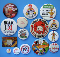 15 Vintage McDonald's Pinback Button Lot - Nice Variety - Some From Canada - A
