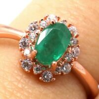 Authentic Genuine Colombian Emerald Ring Women Jewelry Size 6.5 14K Rose Gold