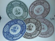 "SPODE ARCHIVE COLLECTION GEORGIAN SERIES FLORAL 5 DINNER PLATES 10.25"" NEW"