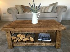 CHUNKY COFFEE TABLE ~ RUSTIC SOLID FURNITURE ~ ALL SIZES MADE  !!
