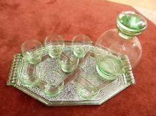 Service à liqueur (absinthe) en OURALINE plateau + carafe + 7 verres - art déco