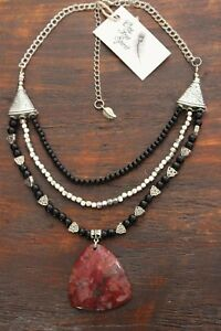 Pretty Handmade 3 Layer Silver & Black Beaded Necklace w Large Red Stone Pendant