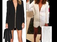 Women Satin Front Zip Up V Neck OL Blazer Ladies Long Sleeve Party Evening Dress