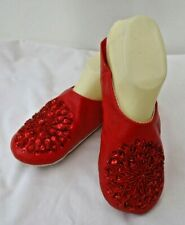 MOROCCAN *RED LEATHER SEQUINED SLIPPERS ALL SIZES * SNOWFLAKE DESIGN