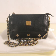 Authentic MCM Black Leather Small Chain Cross Bag + Dust Bag