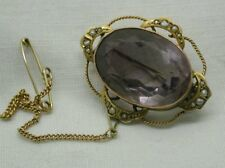 Beautiful Antique 9 Carat Gold 21Carat Amethyst And Seed Pearl Brooch