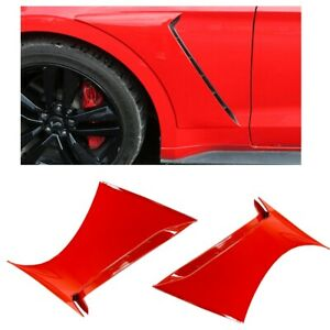 For 15-20 Ford Mustang GT350 Style Front Side Fender Hood Vent Painted Red #PQ
