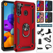 For Samsung Galaxy A21 Case Cover Hybrid Armor Metal Ring Kickstand +Accessories