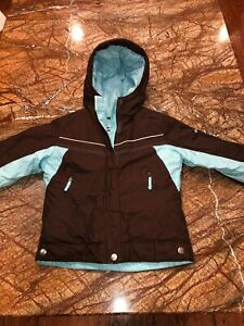 Columbia Girl's Sz 6/7 Insulated Hooded Ski/Snowboard Jacket ~Brown/Light Blue~