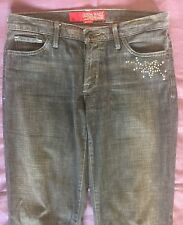 Guess Womens Jeans Boot Cut Crystals Stretch Dark Black Denim Flare Size 29 x 33
