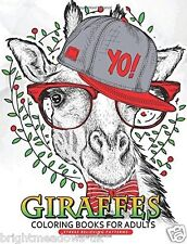 Giraffe Adult Colouring Book Animals Quirky Fun Humour Relaxing Happy 1 Sided