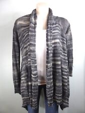 Cute grey stripe 15% WOOL Long sleeve Shrug Jumper Cardigan sz S 8 10
