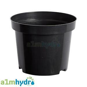 Strong Black Plastic Round Plant Flower Pot Planter Growing Hydroponics X5