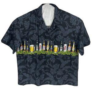 Aloha Republic Homebrew Beer Bottles 4XL Button Hawaiian Shirt S/S Cotton New