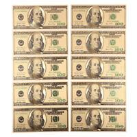 10pcs US$100 dollar Gold Foil USD Paper Money Banknotes Crafts