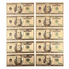 10pcs US$100 dollar Gold Foil USD Paper Money Banknotes Craft SM7