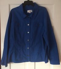 NEW Erin London Royal Blue Cotton Stretch Button Front Closure Jacket 2X