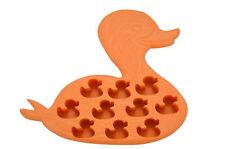 Duck Shape 10 Ice Cube Tray Mold Orange Rubber Novelty Gag Gift Pet Ducky Cute