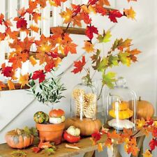 Lighted Artificial Maple Leaf Garland Harvest Thanksgiving Halloween Home Decor