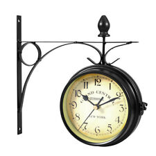 European Style Double-sided Wall Clock Creative Classic Iron Clocks Monochrome
