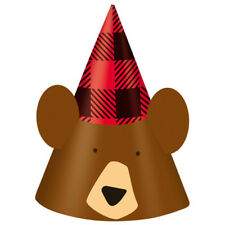 PLAID LUMBERJACK HAPPY BIRTHDAY CONE HATS (8) ~ Party Supplies Favors Bear Red