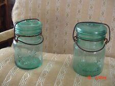 2- Vintage Aqua Blue Quick Seal Pint Mason Jars w/Glass Lids & Wire Bale # 3 & 6