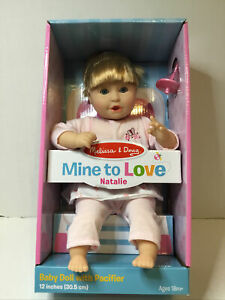 """Melissa & Doug Mine to Love NATALIE, 12"""" Baby Doll w/Pacifier-18M+ NEW."""