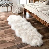 nuLOOM Hand Made Natural Double Sheepskin Wool Plush Shag Area Rug in White