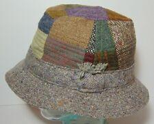bb97929bea760 Size Medium 7 1 8 1 4 Vintage Hanna Hats Wool Tweed Patchwork Bucket