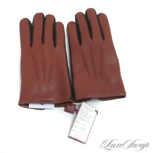 NWT Dents England Heritage Black Highway Tan Leather Cashmere Line Gloves 8.5 #7