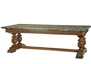 Antique Table, Library, Oak, Italian, Green Marble Top, Massive, 1800's 19th C.