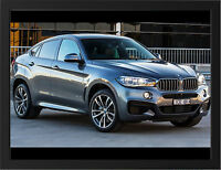BLACK BMW X6 M50D NEW A3 FRAMED PHOTOGRAPHIC PRINT POSTER