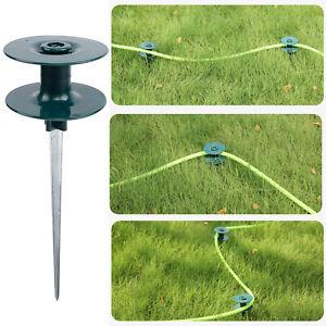 Garden Hose Roller Wheel Guide Green Wheel Steel Spike Heavy Duty Zinc Metal