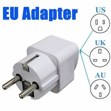 Portable UK US AU to EU European 2PIN Power Socket Plug Adapter Travel Converter