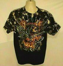 VINTAGE LARGE BLACK SKULL TOP HAT STEEL STUDS EIGHT BALL CREW NECK COTTON TSHIRT