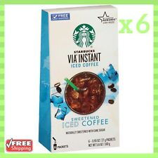 Starbucks Via Sweetened Iced Coffee Instant Pack of 6 Boxes 5.6 Oz Each NEW