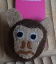 Felt Fair Trade Brooch Brown Monkey Felted Ethical Gift Accessory Made in Nepal