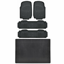 5pc Black Rubber Floor Mat Front & Rear Heavy Duty All Weather Liner BPA FREE