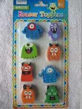 8 Monster Eraser Toppers Party Favors Goodies Stocking Valentine Treats Reward