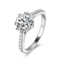 Aaa Cz White Gold Plated Size 9 Wedding Engagement Ring For Women Round Cut