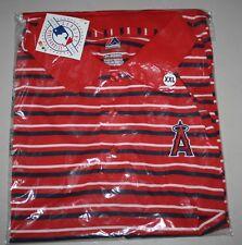 Mens Polo Shirt LA Angels Size XXL Los Angeles MLB Red Striped - Majestic - NWT