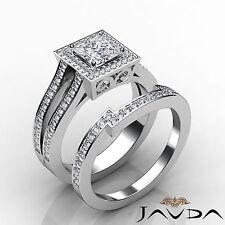 Compromiso Diamante Corte Princesa GIA G VS2 Set Nupcial Anillo 14k Oro Blanco