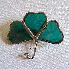 Sweet Hand Crafted Green Clover STAINED GLASS Pin